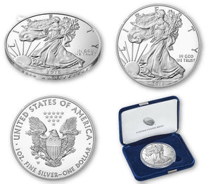 2016W American Silver Eagle Proof w/box & COA edge lettering