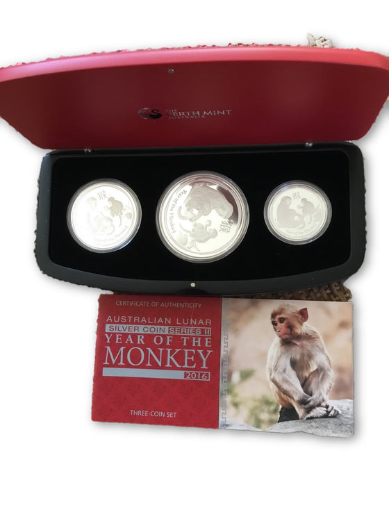 2016 Australian Lunar Year of the Monkey 3 Coin Set 3 1/2 Ozs.