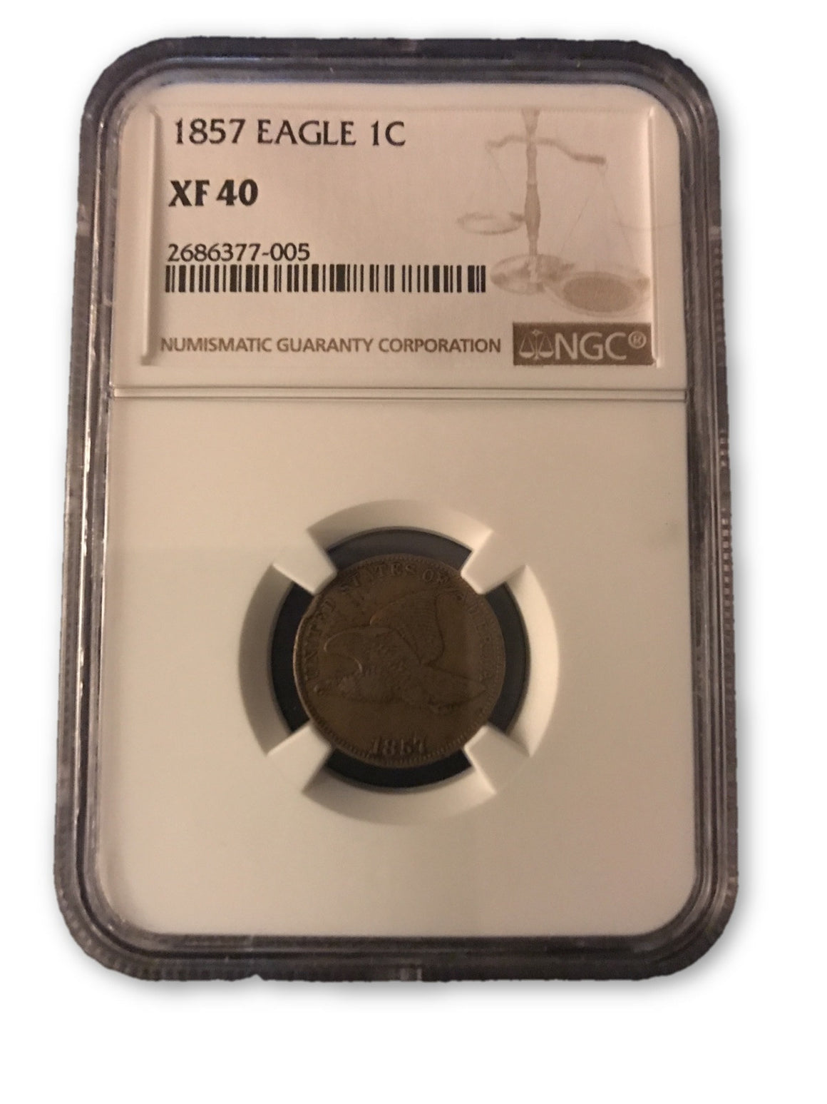 1857 FLYING EAGLE CENT XF40