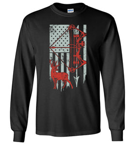 Bow Hunting With American Flag Long Sleeve T-shirt - TS