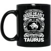 Good Heart Taurus Zodiac Black Mug