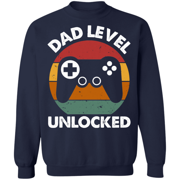Dad Level Unlocked Crewneck Pullover Sweatshirt - V1
