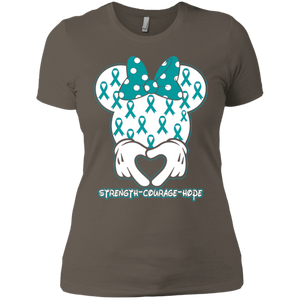 Minnie Teal Ovarian Cancer Awareness Ladies' Boyfriend T-Shirt