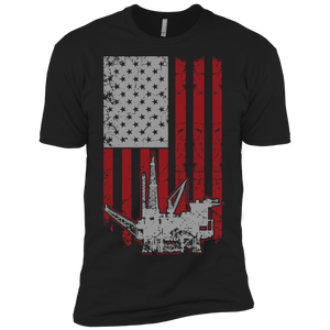 Oil Rig American Flag Premium Short Sleeve T-Shirt