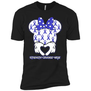 Minnie Blue Colon Cancer Awareness Premium Short Sleeve T-Shirt
