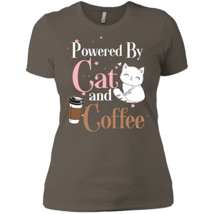 Powered By Cat and Coffee Ladies' Boyfriend T-Shirt