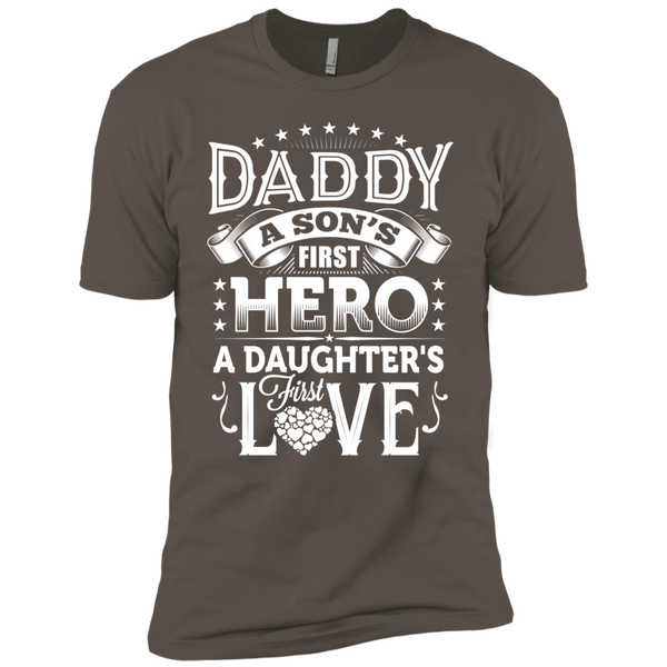 Daddy A Son's First Hero A Daughter's First Love Premium Short Sleeve T-Shirt