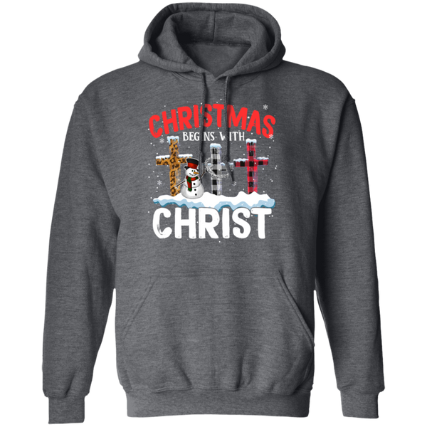 Christmas Begins With Christ Pullover Hoodie