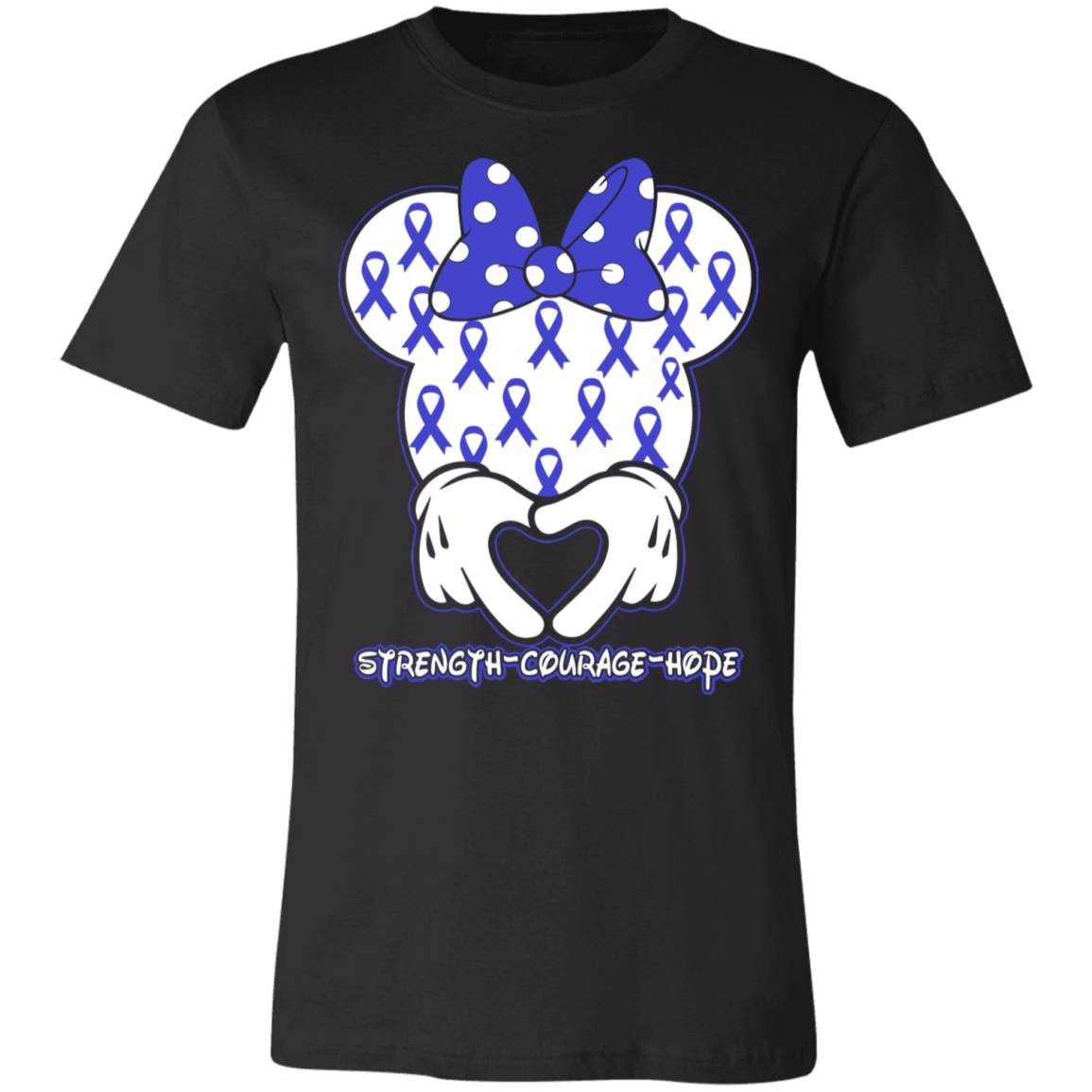 Minnie Blue Colon Cancer Awareness BC Unisex Jersey Short-Sleeve T-Shirt