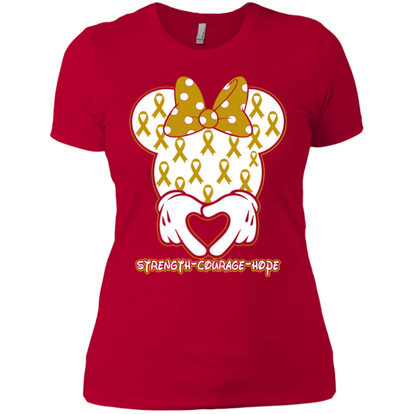 Minnie Children Cancer Awareness Ladies T-Shirt