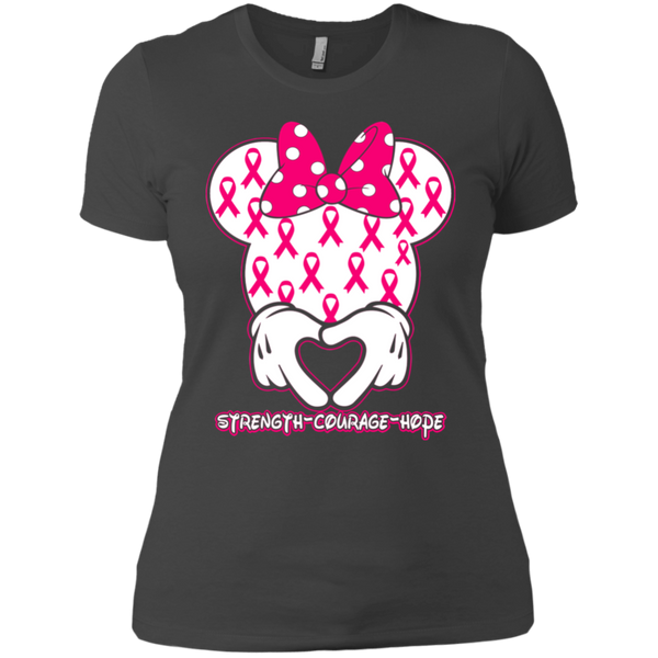 Minnie Breast Cancer Awareness Ladies T-Shirt