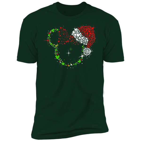 Christmas Minnie Dots With Santa Hat Premium Short Sleeve T-Shirt