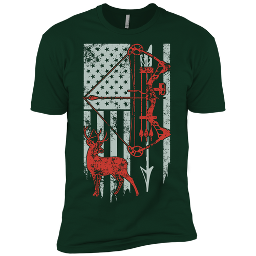 Bow Hunting With American Flag Premium Short Sleeve T-Shirt