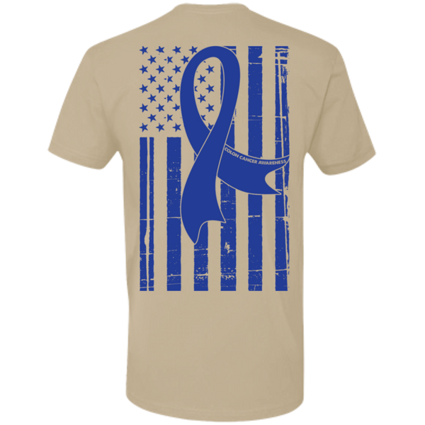 Colon Cancer Awareness With American Flag Premium Short Sleeve T-Shirt