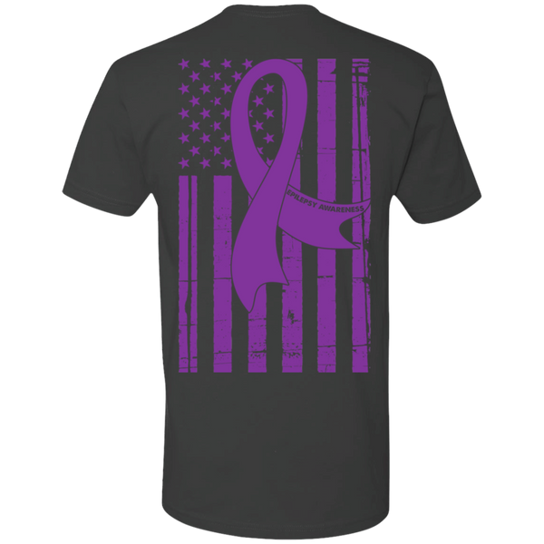Epilepsy Awareness with American Flag Premium Short Sleeve T-Shirt