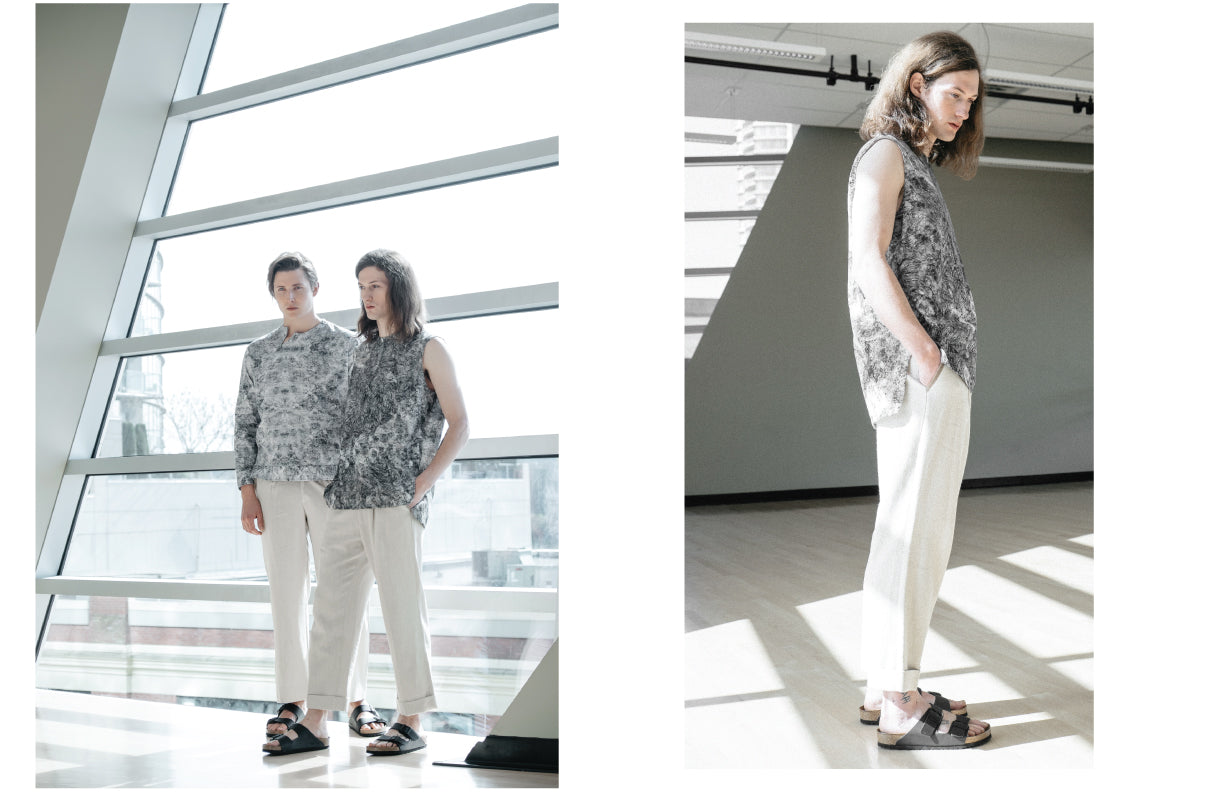 Slow fashion concepts by Nowhere Studio featuring digital prints in Organic Cotton