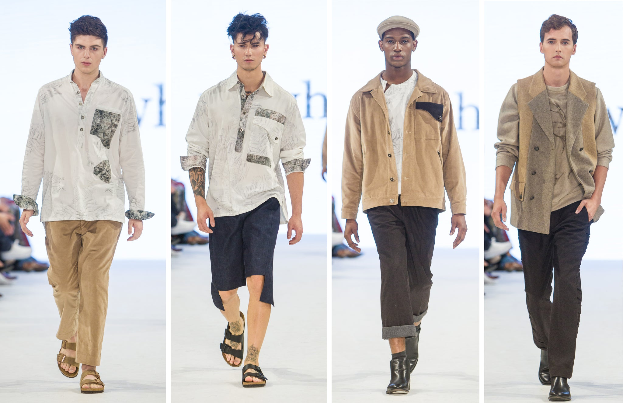 Runway at Toronto Men's Fashion Week showing Nowhere Studio's digital and handcrafted designs