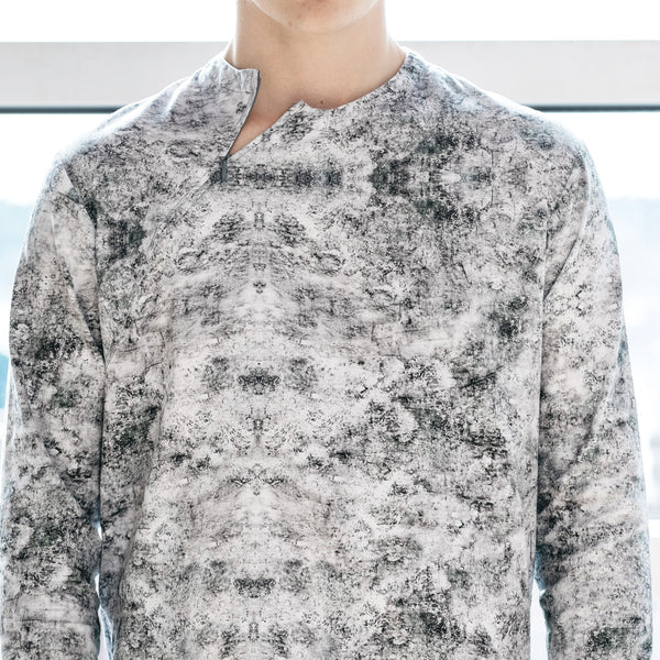 Men's style long sleeve sweatshirt with digital print slow fashion concepts by Nowhere Studio