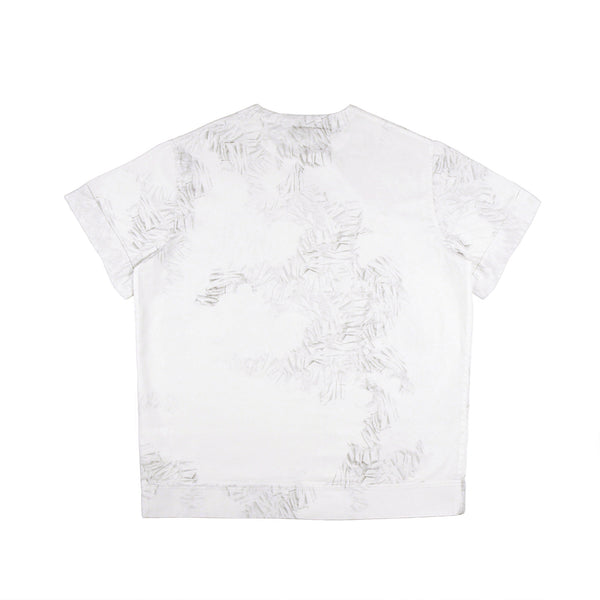 Men's style white short sleeve shirt with digital print back view