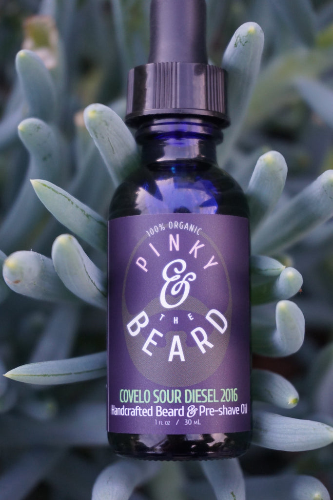 Limited Edition:<br>Pinky & the Beard 100% Organic <br>COVELO SOUR DIESEL 2016 <br>Handcrafted Beard & Pre-Shave Oil, <br>1oz bottle