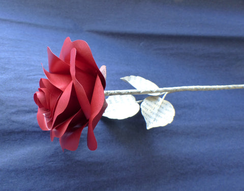 Single red paper rose