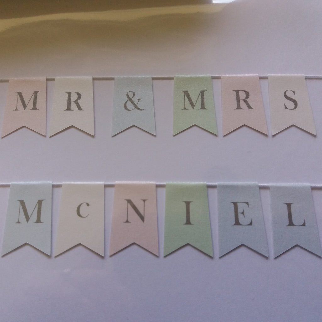 Mr & Mrs 'new married name' match to own logo cake bunting