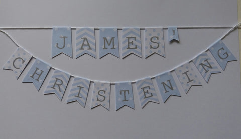 Personalised with Name Christening cake bunting stars, stripes & polka dot Cake topper