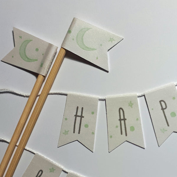 Mint green Moon & stars personalised Baptism cake bunting
