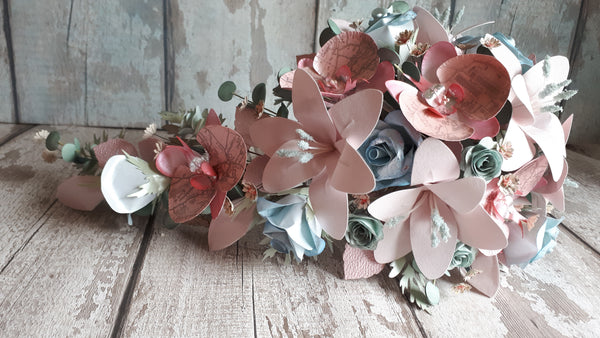 Paper cascade bouquet in pinks
