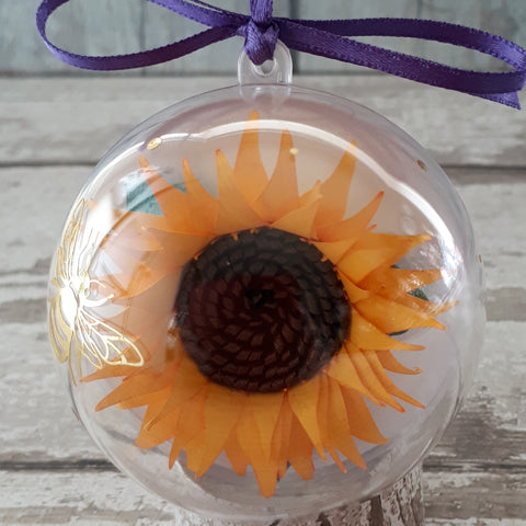 Paper sunflower in a bubble