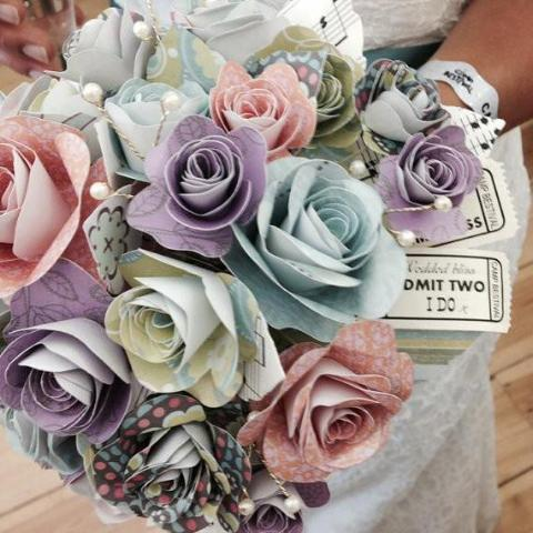 Paper rose wedding flowers