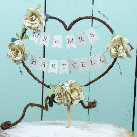 book flower cake topper