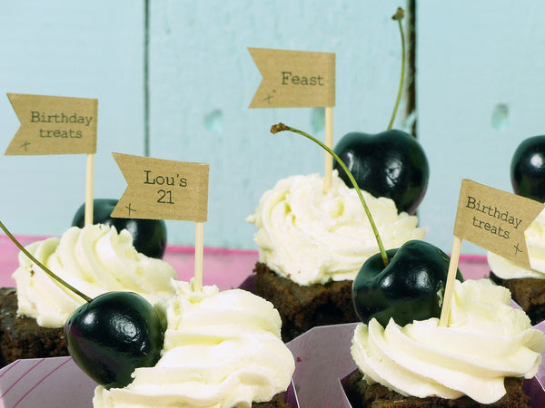 Brown kraft Birthday favour cupcake flags