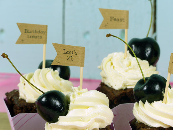 custom birthday cupcake flags