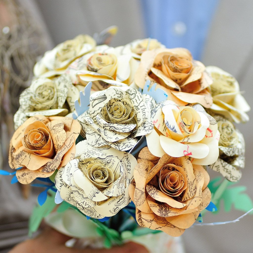 Middle Earth Map paper wedding flowers Alternative fake flowers