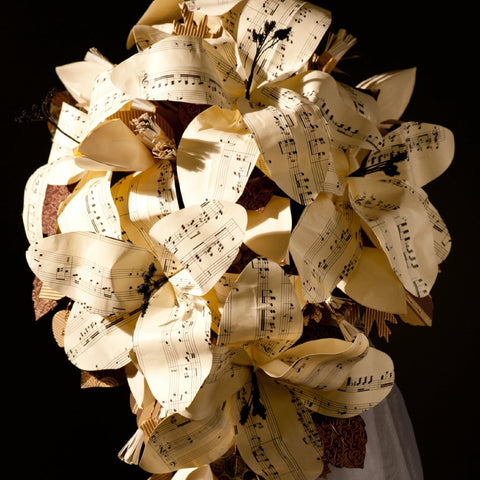 Sheet music wedding flowers