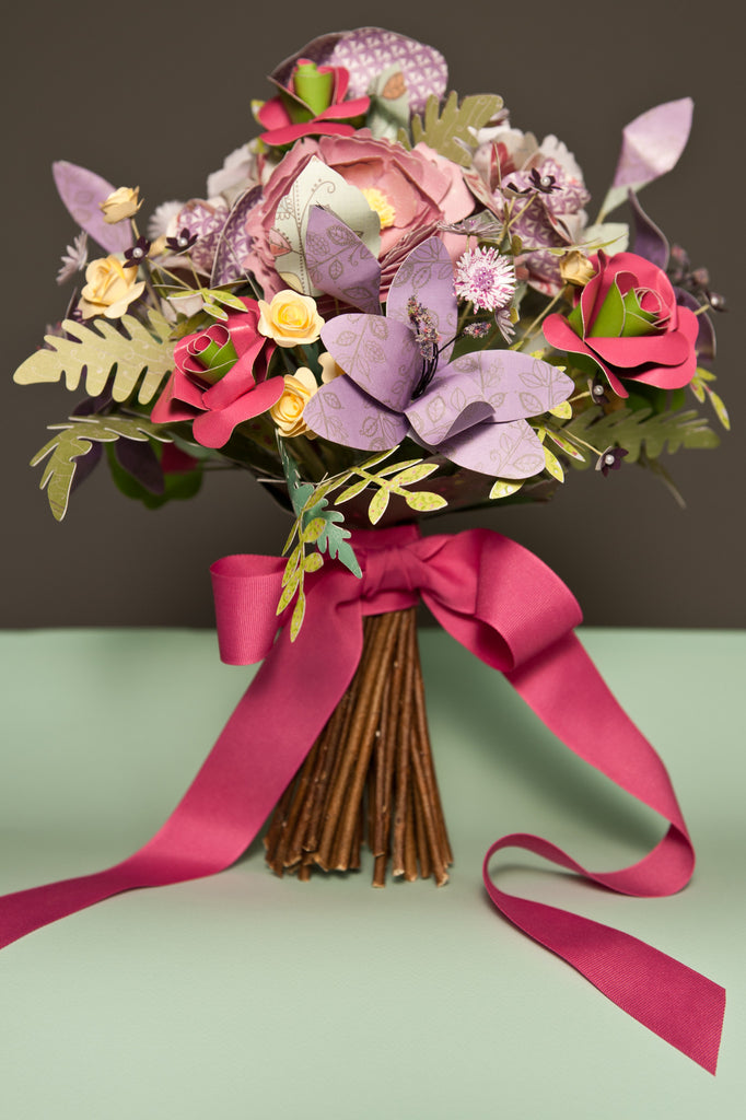 Paper Lilac Flower Hand Tied Style Bridal Bouquet Paper Jackdaw