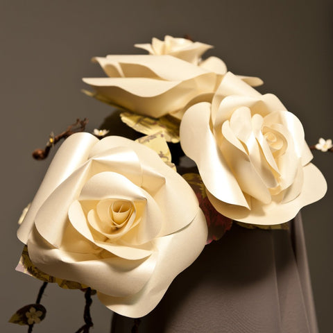 large paper ivory rose bouquet alternative fake flowers