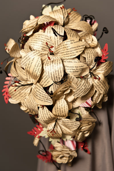 Count Dracula book page roses paper wedding bouquet