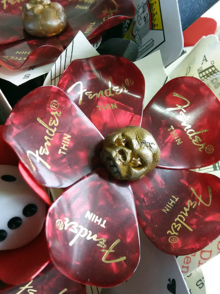 Red guitar pick bouquet