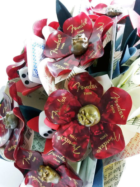 Sheet music alternative flowers guitar pick bouquet
