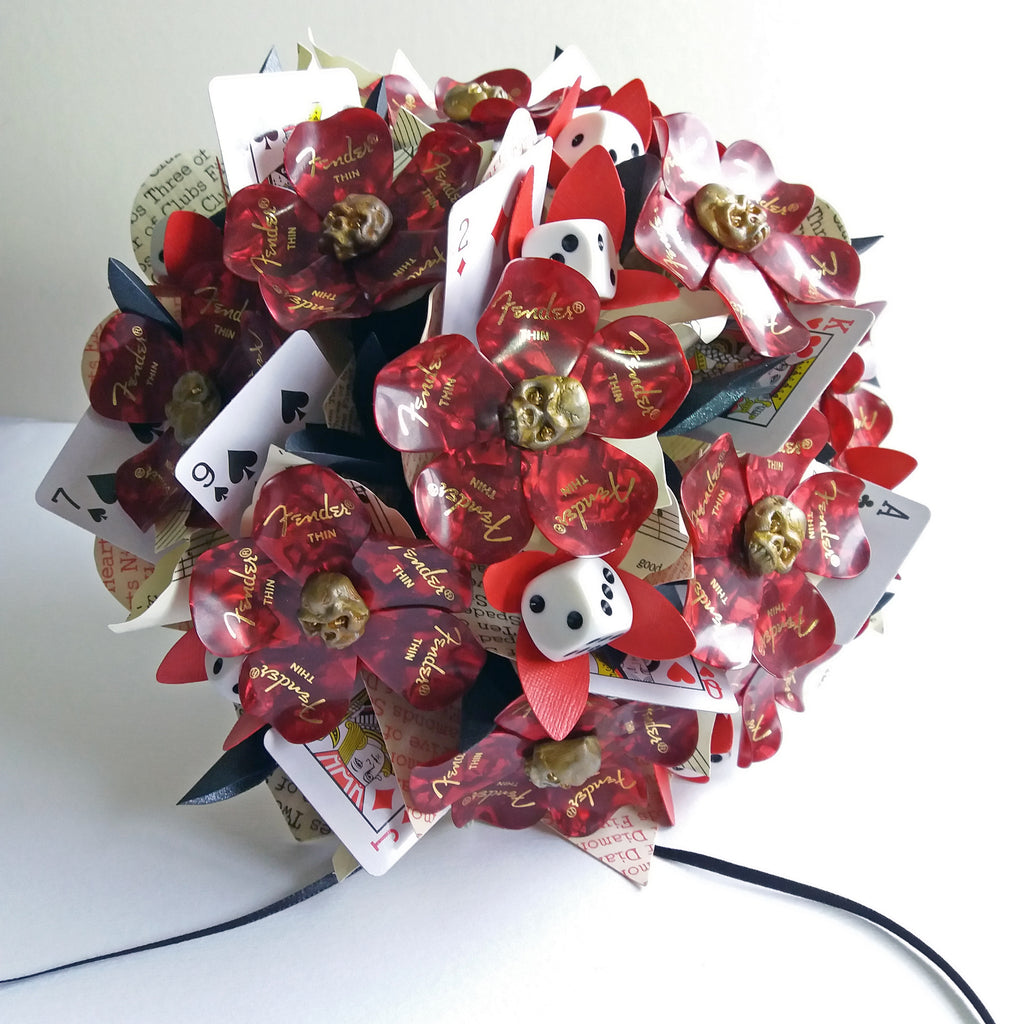 Bridal bouquet of guitar picks alternative wedding flowers