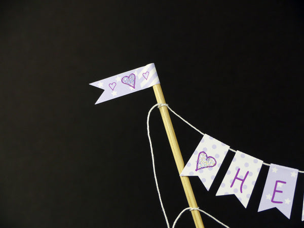 New lilac baby shower neutral cake bunting