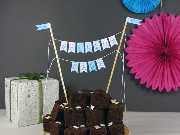 Baby boy baby shower cake bunting