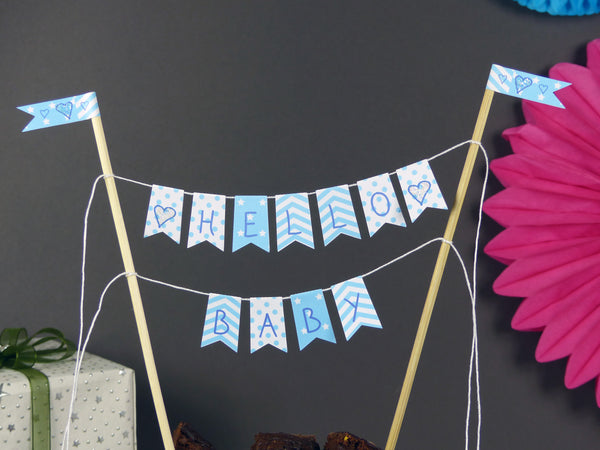 Baby boy baby shower blue cake bunting