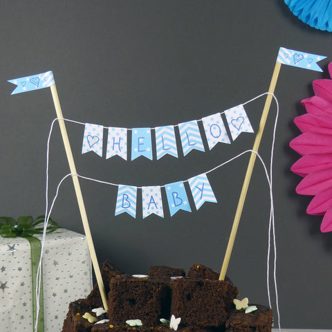 New baby blue cake flags