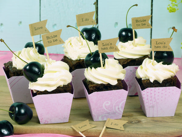 Hen do brown kraft cupcake flags