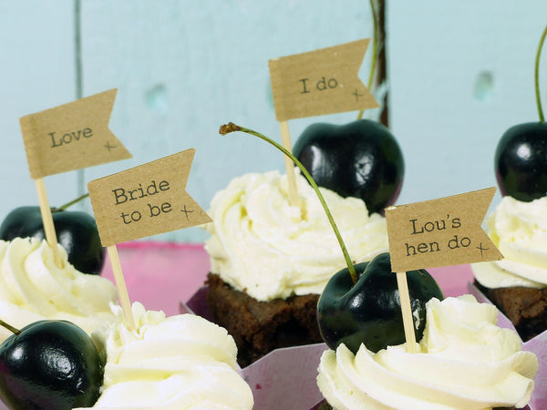 Hen do rustic cupcake topper