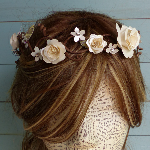 Woodland fairy wedding crown
