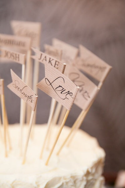 brown kraft wedding cake topper